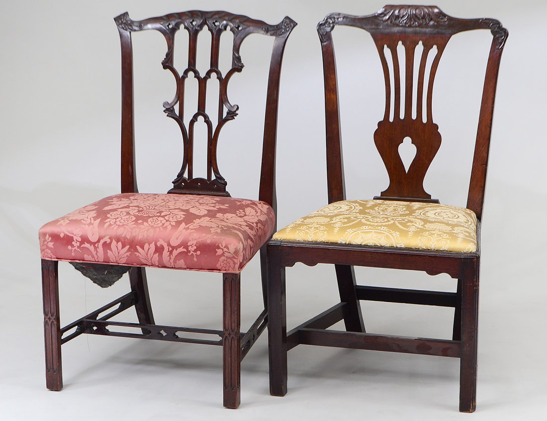 GEORGE III MAHOGANY SIDE CHAIR AND ANOTHER
