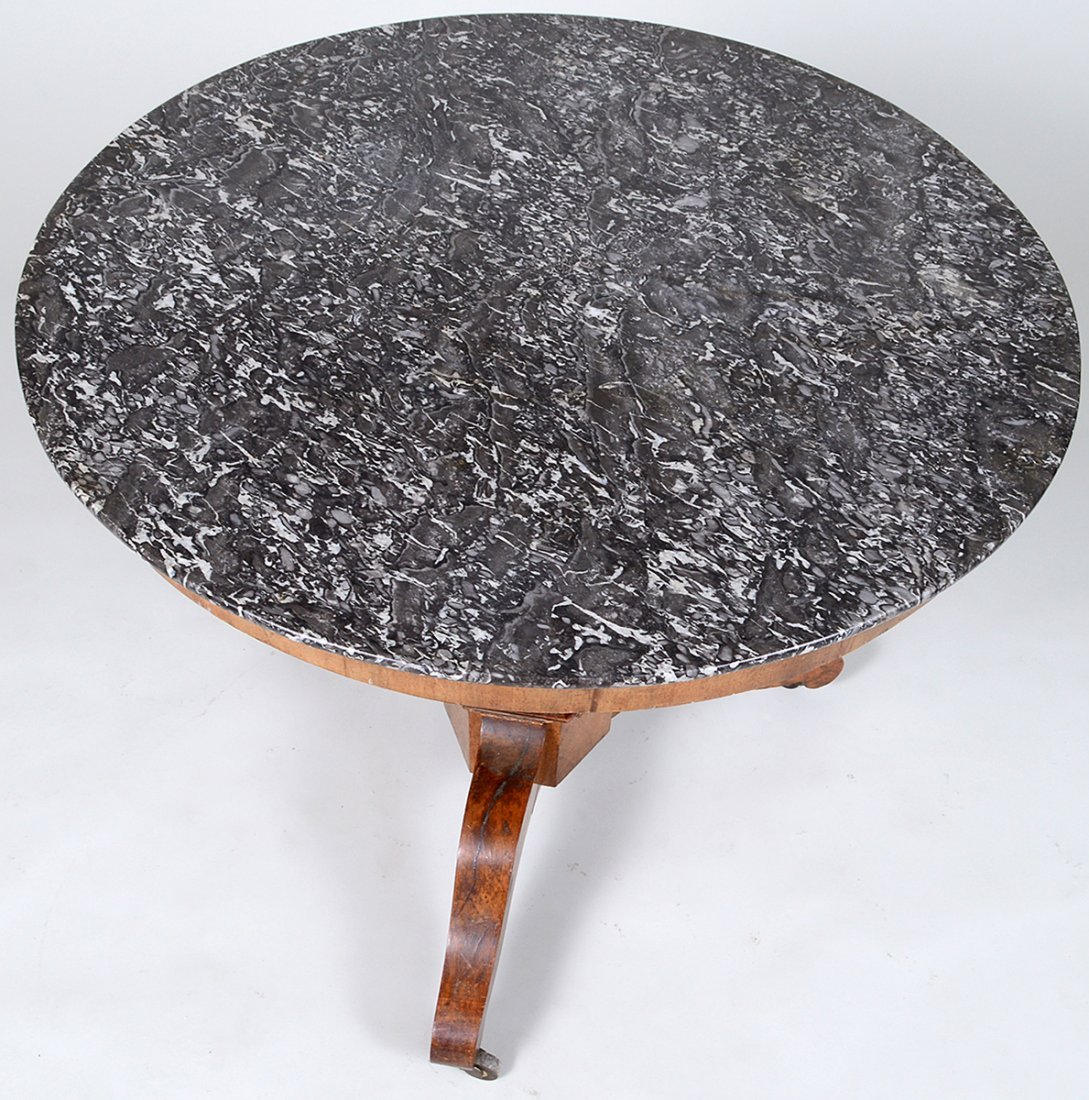 LOUIS PHILIPPE MARBLE TOP WALNUT CIRCULAR CENTER TABLE - 3
