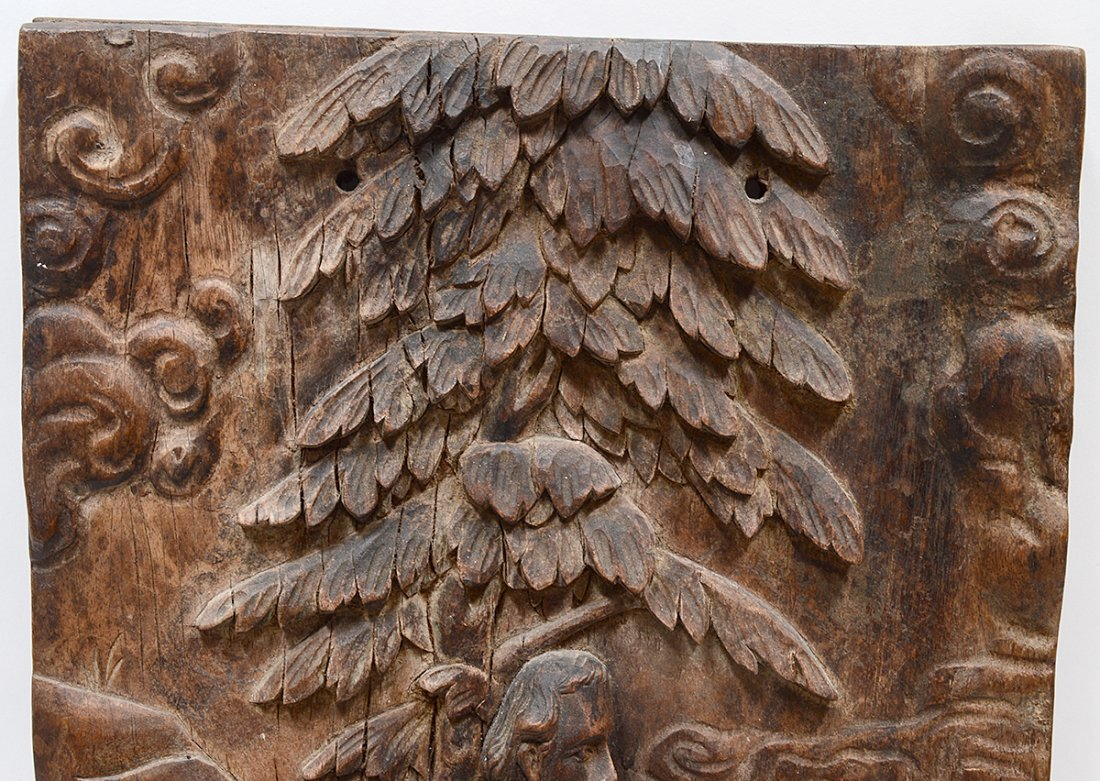 CARVED WOOD BAS RELIEF - 4