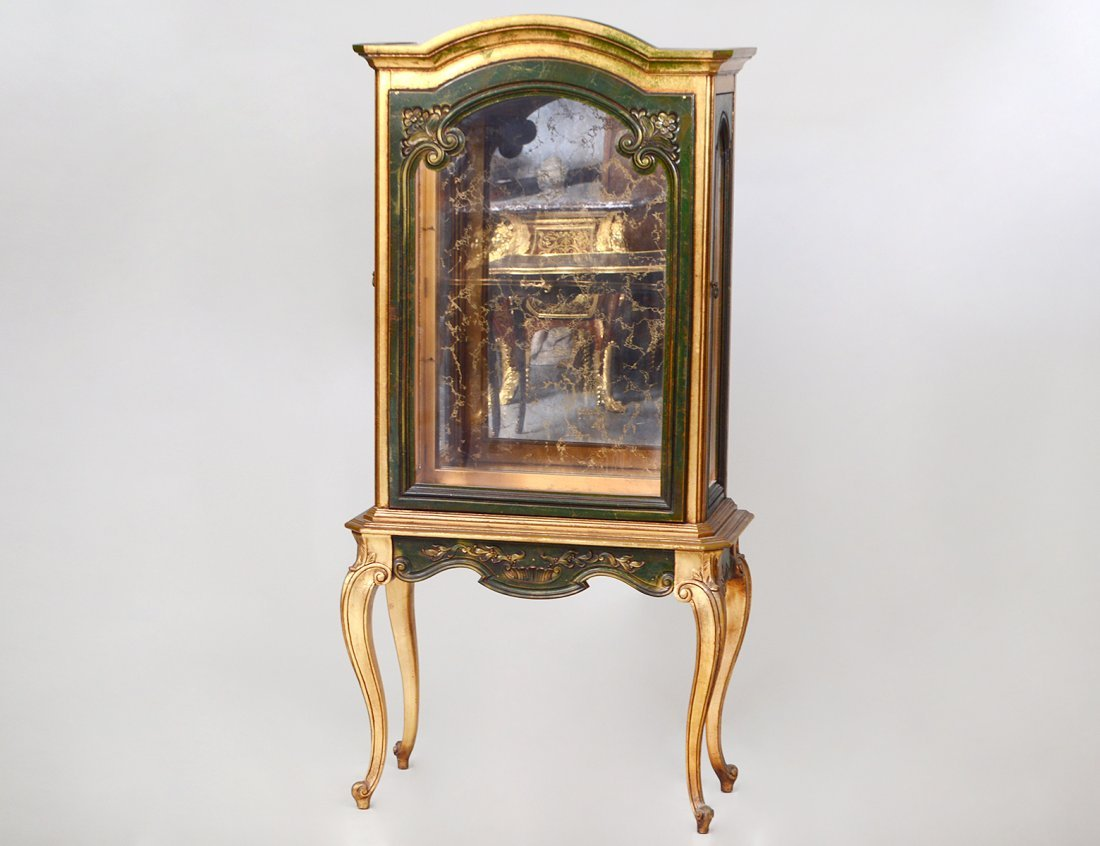 ROCOCO STYLE GILT & PAINTED WOOD VITRINE CABINET