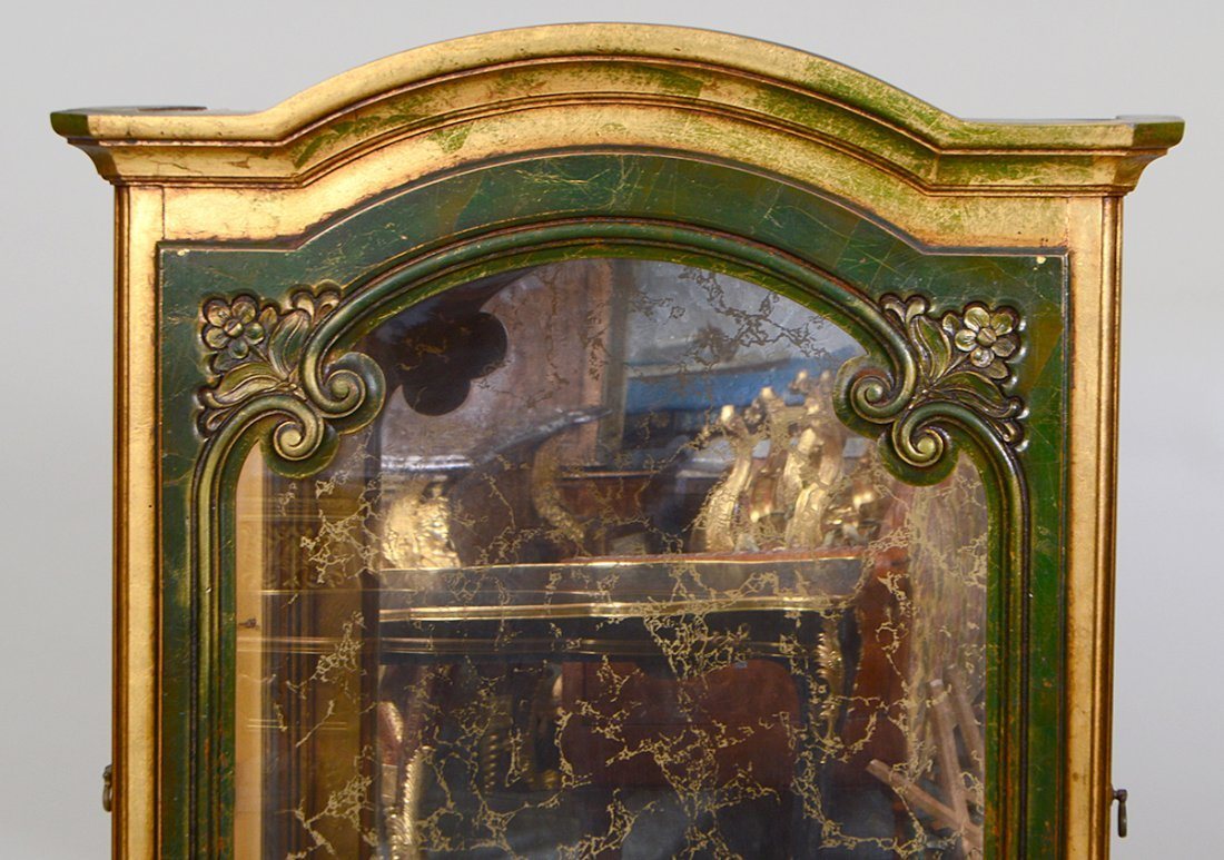 ROCOCO STYLE GILT & PAINTED WOOD VITRINE CABINET - 2