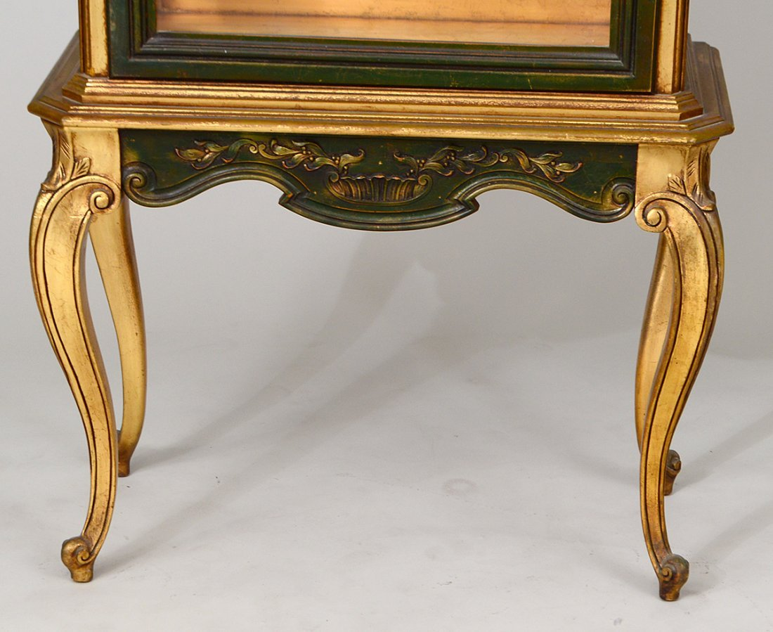 ROCOCO STYLE GILT & PAINTED WOOD VITRINE CABINET - 3