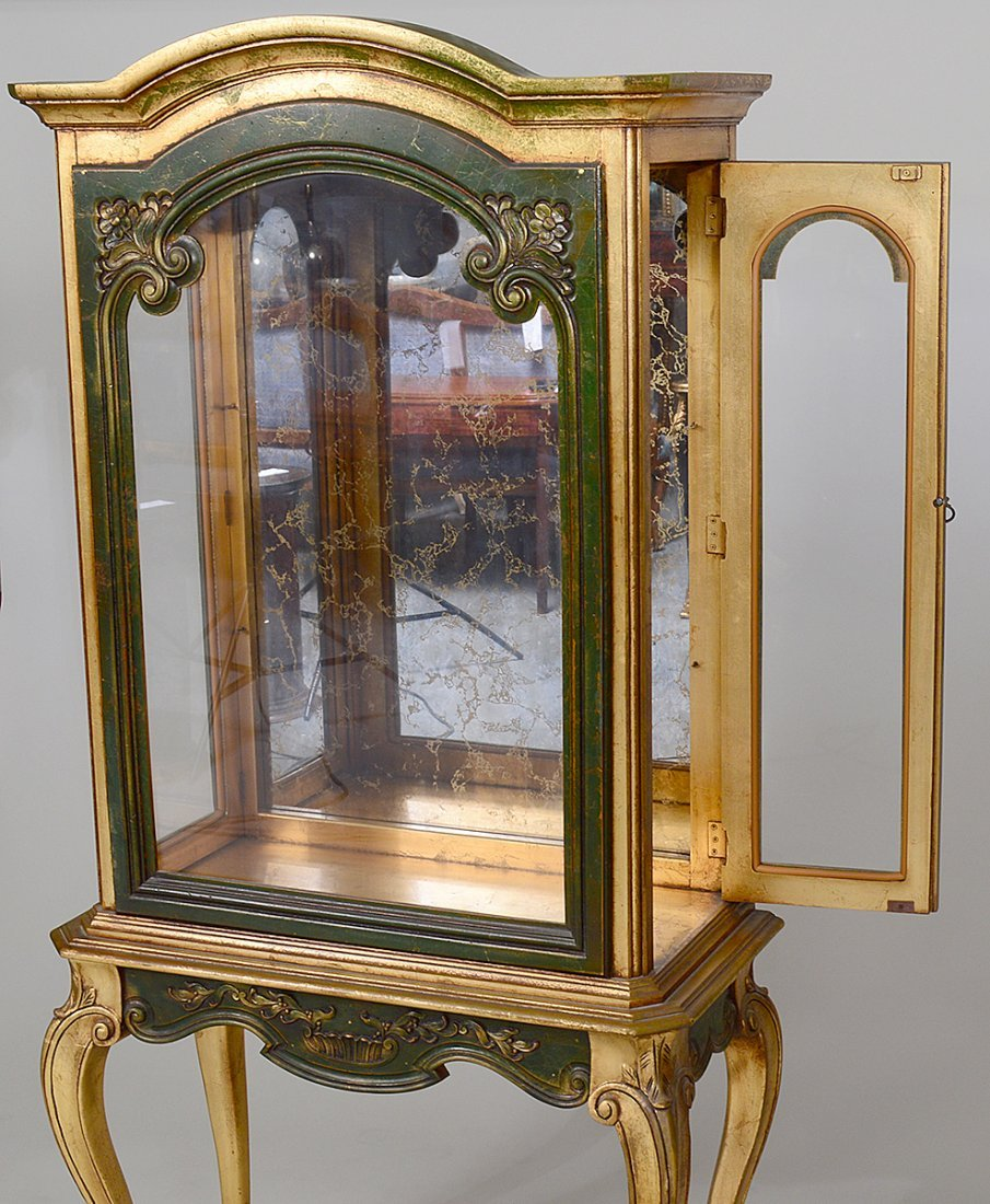 ROCOCO STYLE GILT & PAINTED WOOD VITRINE CABINET - 4
