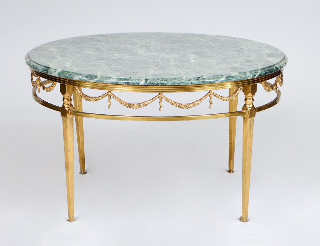 NEO-CLASSICAL STYLE MARBLE TOP BRASS CIRCULAR LOW TABLE