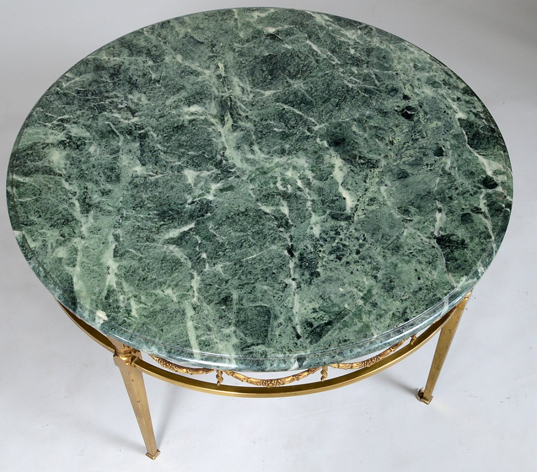 NEO-CLASSICAL STYLE MARBLE TOP BRASS CIRCULAR LOW TABLE - 2