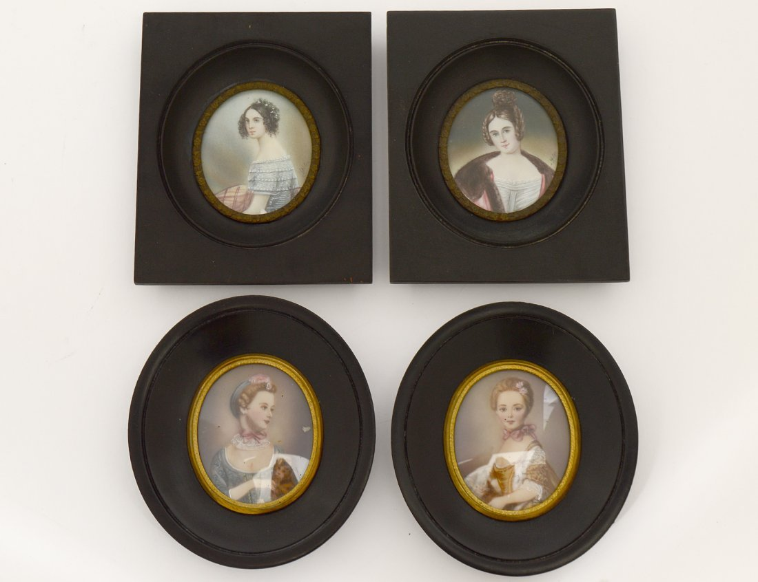 TWO PAIRS OF PAINTED PORTRAIT MINIATURES OF LADIES