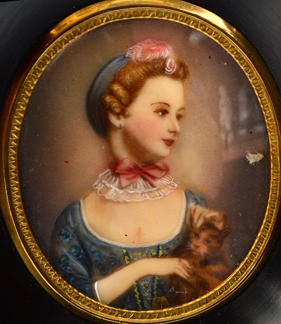 TWO PAIRS OF PAINTED PORTRAIT MINIATURES OF LADIES - 4
