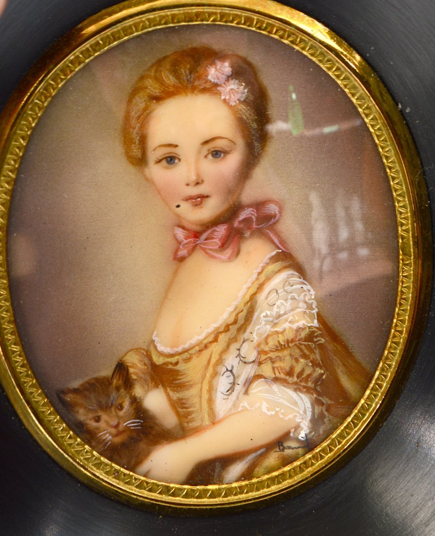 TWO PAIRS OF PAINTED PORTRAIT MINIATURES OF LADIES - 5