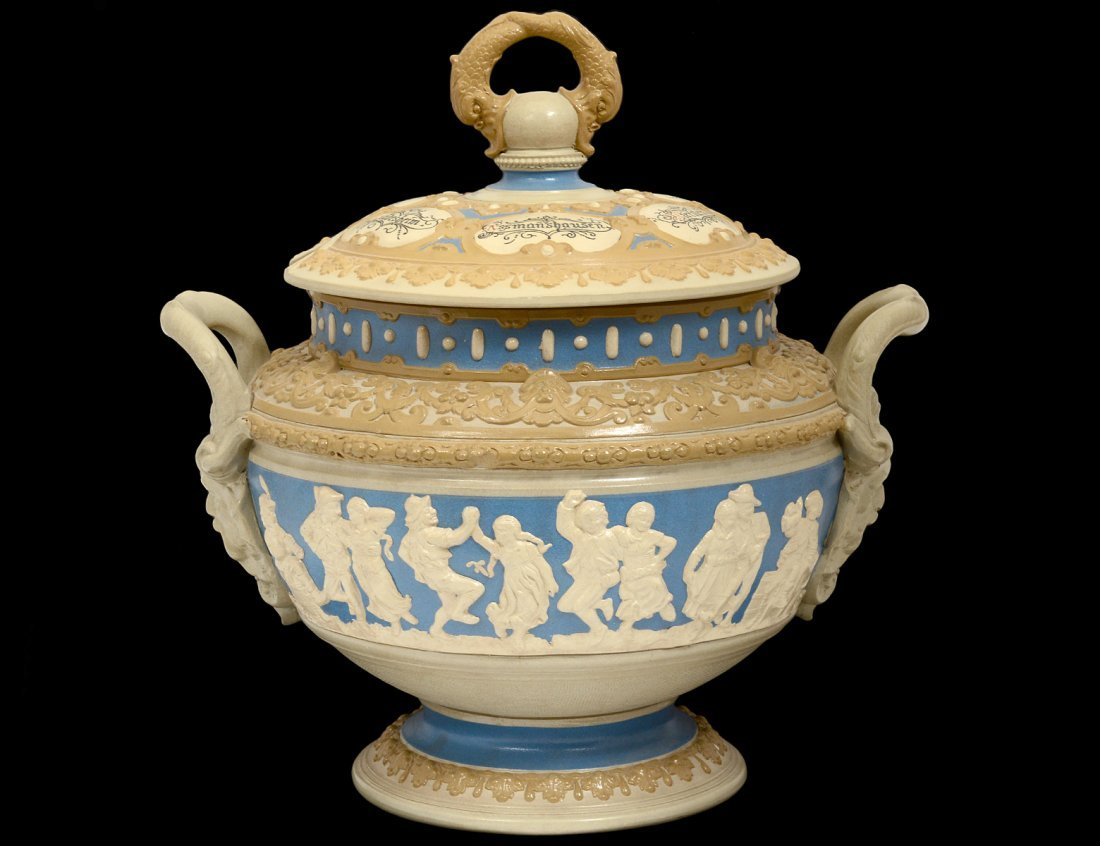 METTLACH SALT GLAZED POTTERY TUREEN AND COVER