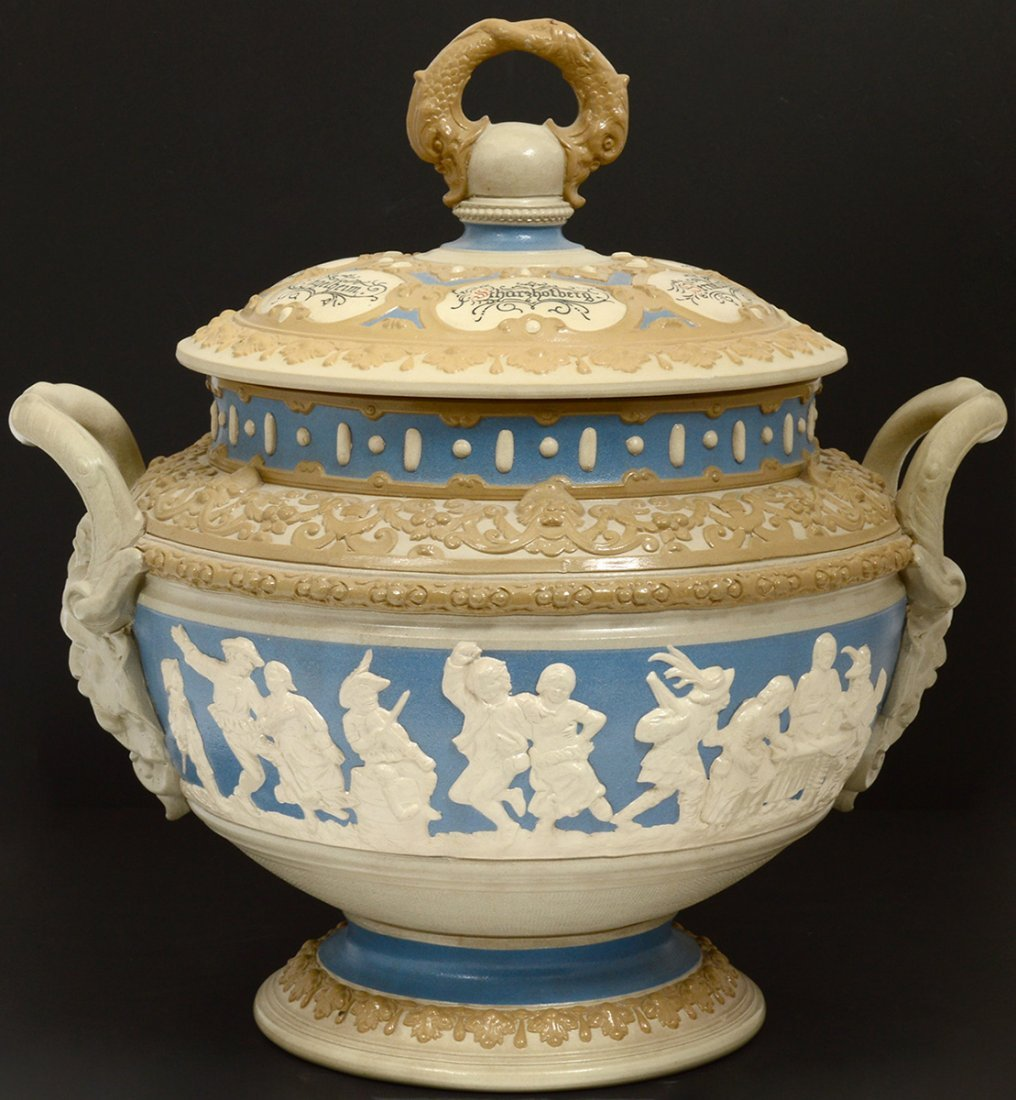 METTLACH SALT GLAZED POTTERY TUREEN AND COVER - 4