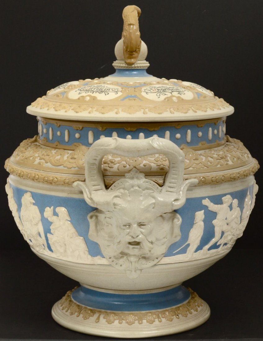 METTLACH SALT GLAZED POTTERY TUREEN AND COVER - 5