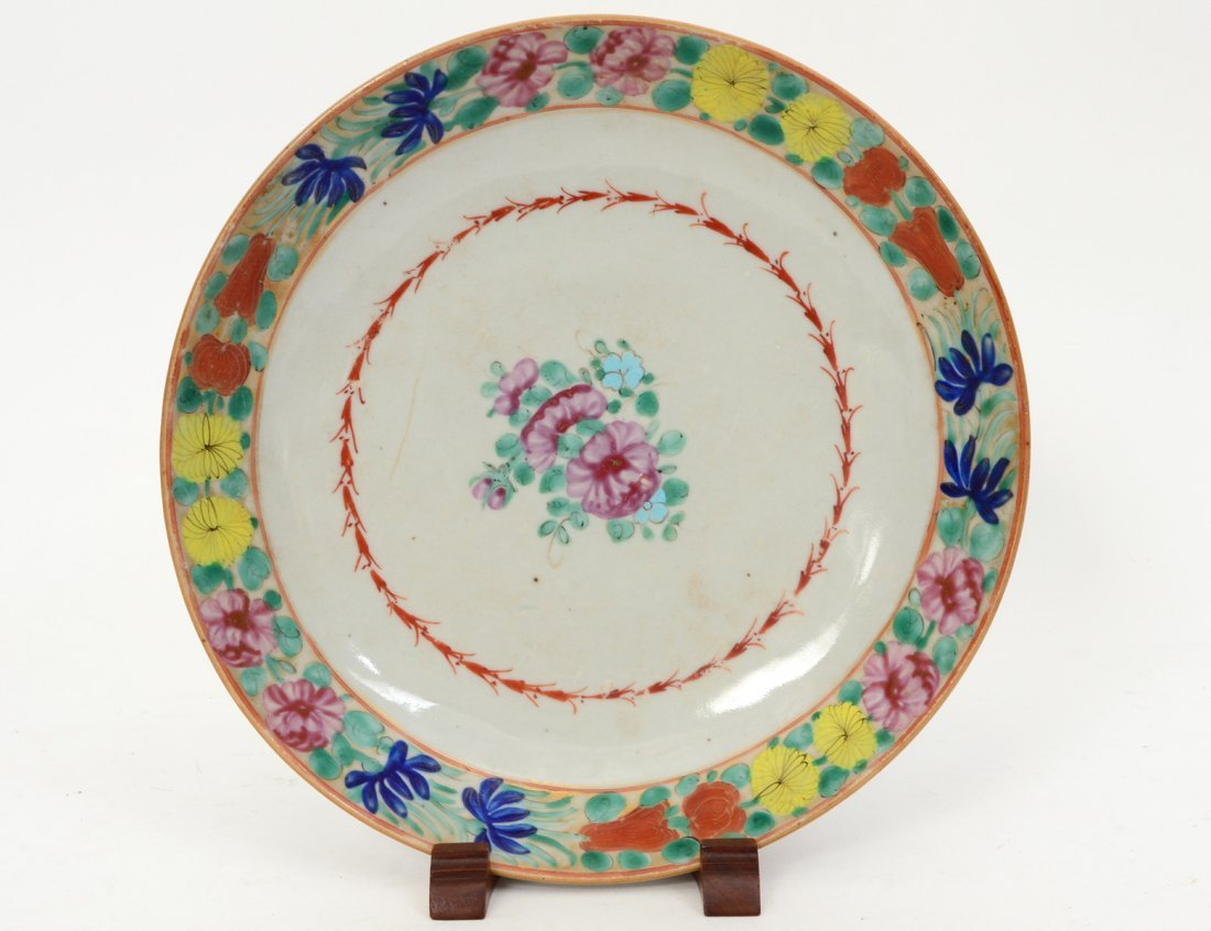 CHINESE FAMILLE NOIRE PORCELAIN PLATE