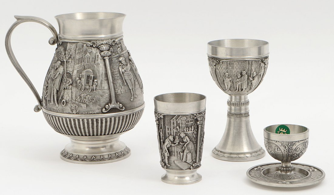CONTENTIAL PEWTER ALLOY NINETEEN PIECE DRINKS SERVICE - 2