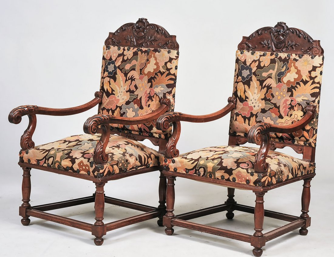 PAIR OF LOUIS XIII STYLE WALNUT ARMCHAIRS