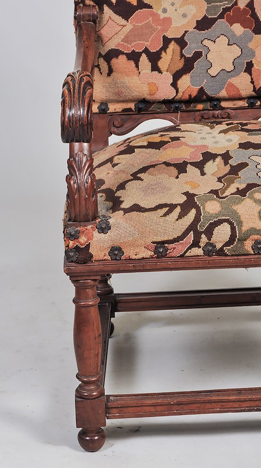 PAIR OF LOUIS XIII STYLE WALNUT ARMCHAIRS - 4