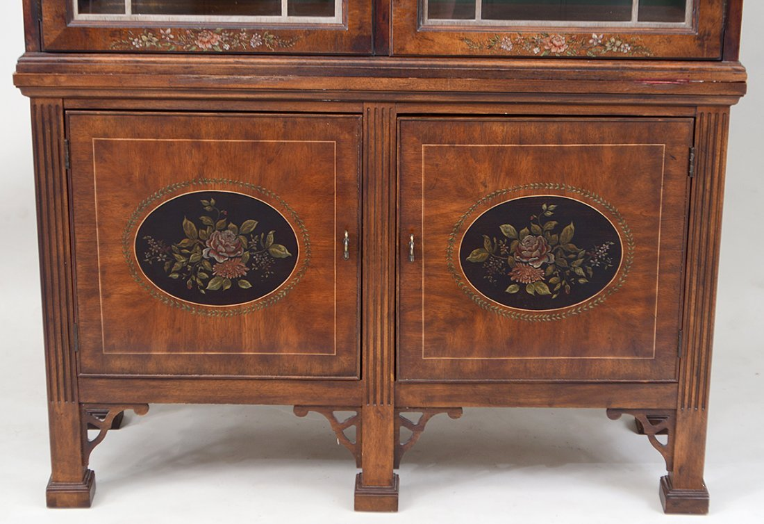 GEORGE III STYLE PAINTED MAHOGANY BOOKCASE CABINET - 2
