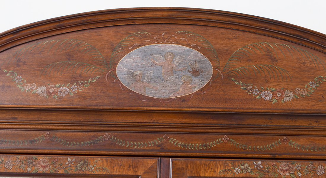 GEORGE III STYLE PAINTED MAHOGANY BOOKCASE CABINET - 6
