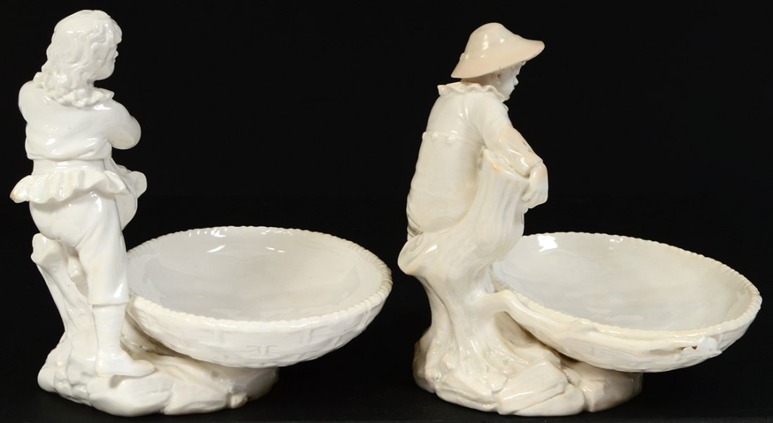 PAIR OF ROYAL WORCESTER BLANC-DE-CHINE SWEETMEAT DISHES - 4