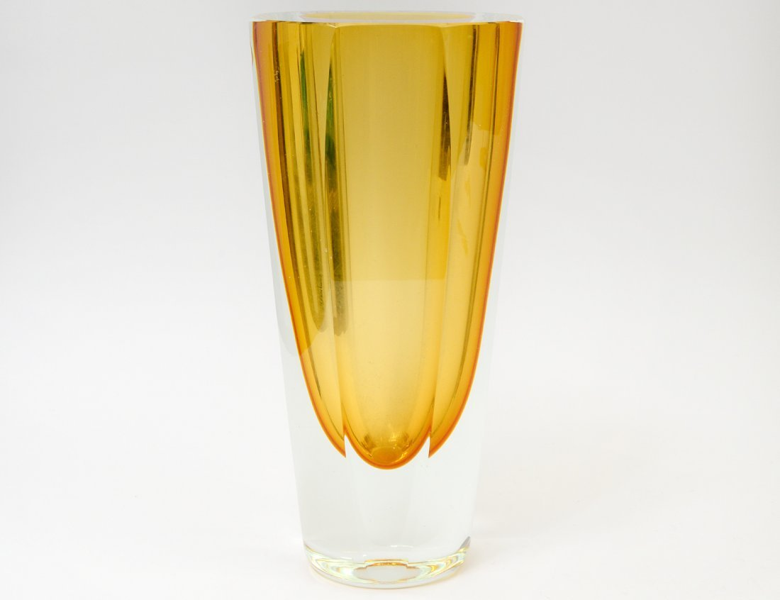 AMBER THICK WALL GLASS VASE