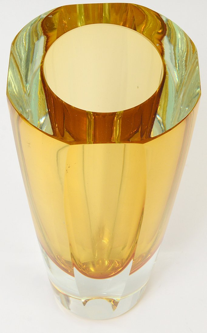 AMBER THICK WALL GLASS VASE - 2