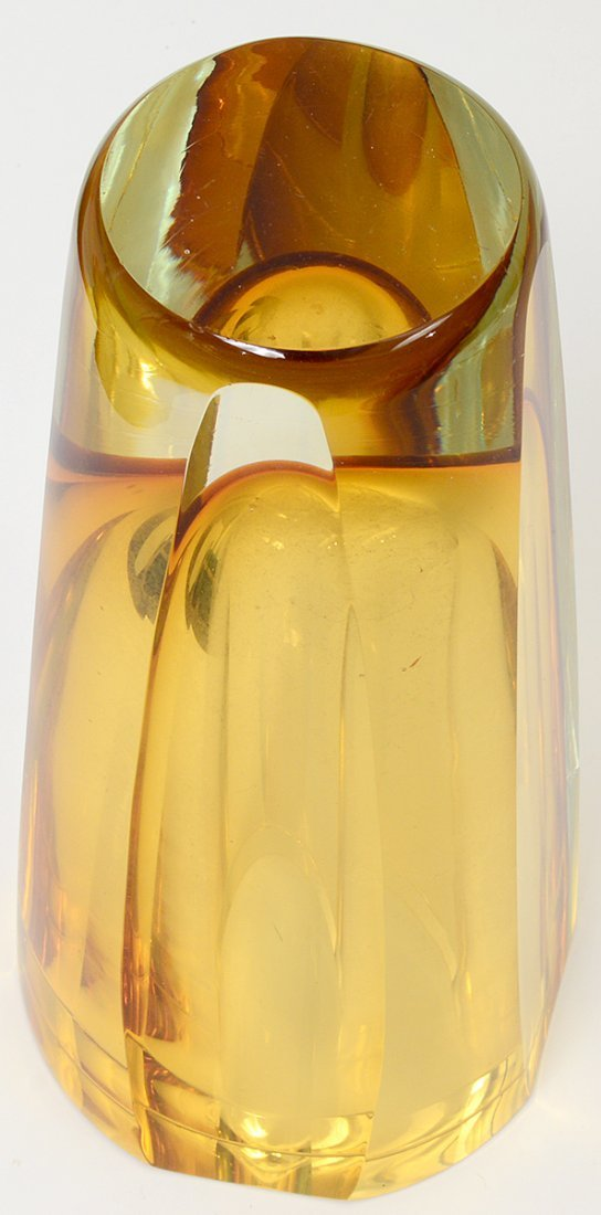 AMBER THICK WALL GLASS VASE - 3