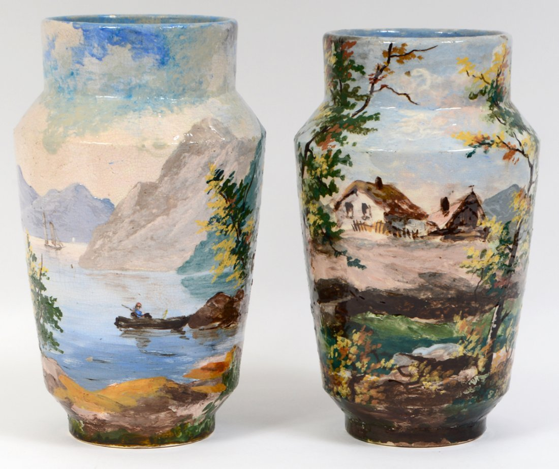 THREE PAIRS OF CONTINENTAL PAINTED EARTHENWARE VASES - 10