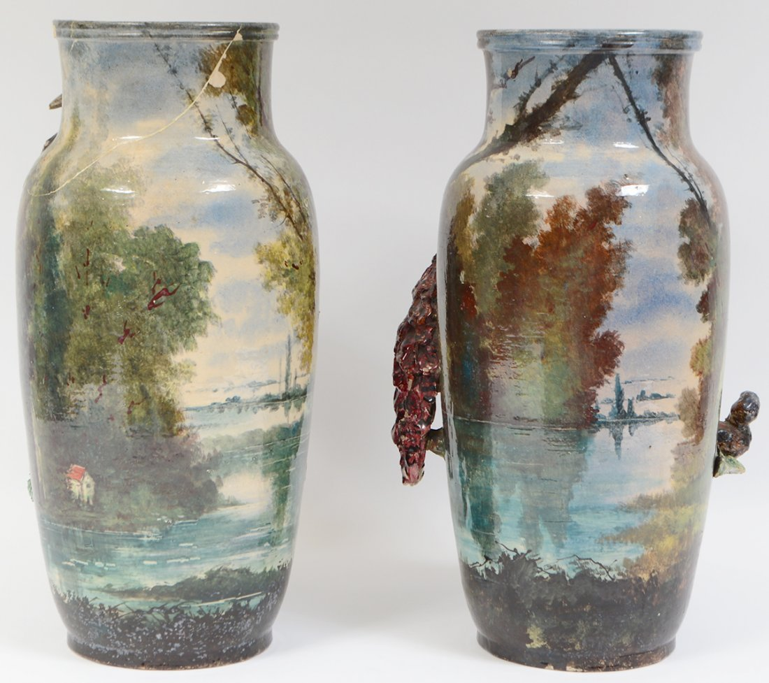 THREE PAIRS OF CONTINENTAL PAINTED EARTHENWARE VASES - 5