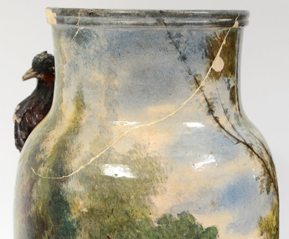 THREE PAIRS OF CONTINENTAL PAINTED EARTHENWARE VASES - 6