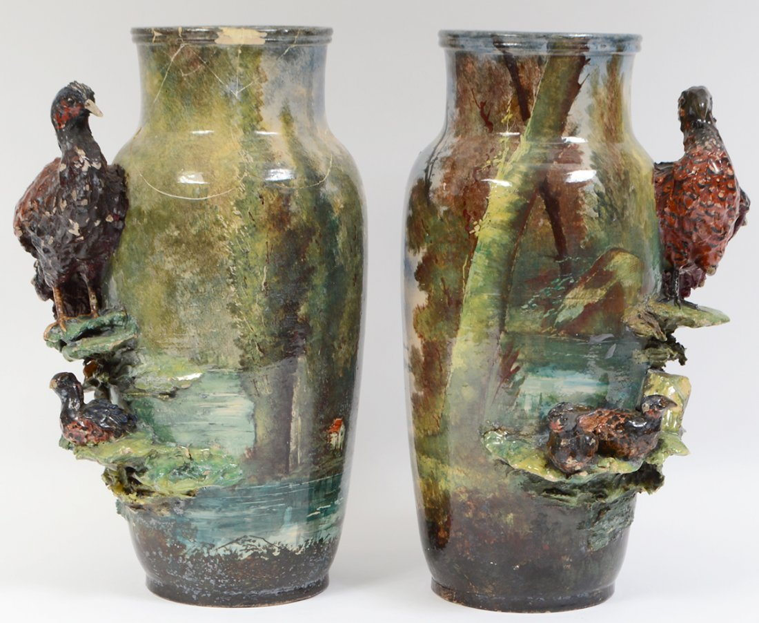 THREE PAIRS OF CONTINENTAL PAINTED EARTHENWARE VASES - 7