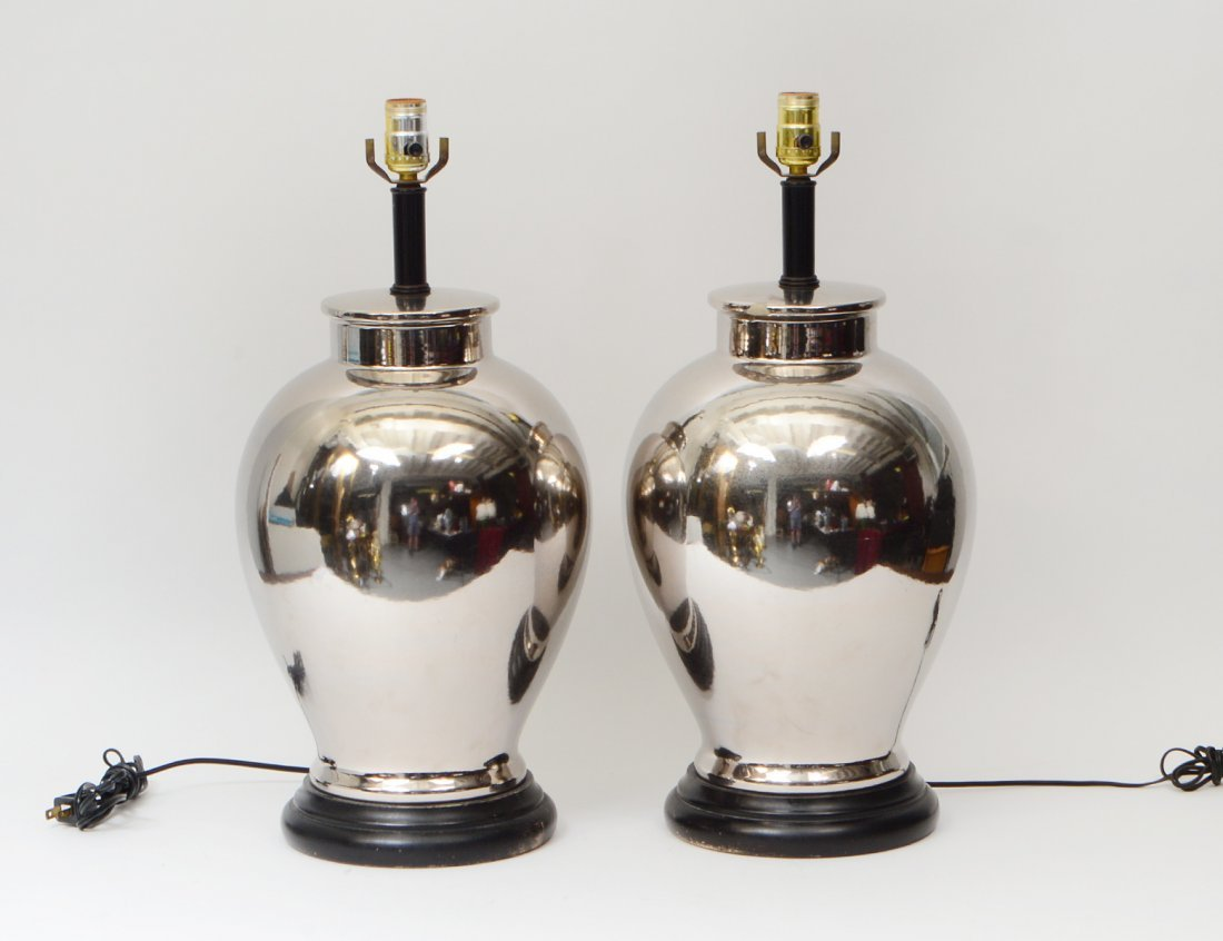 PAIR OF SILVERED CERAMIC LAMPS