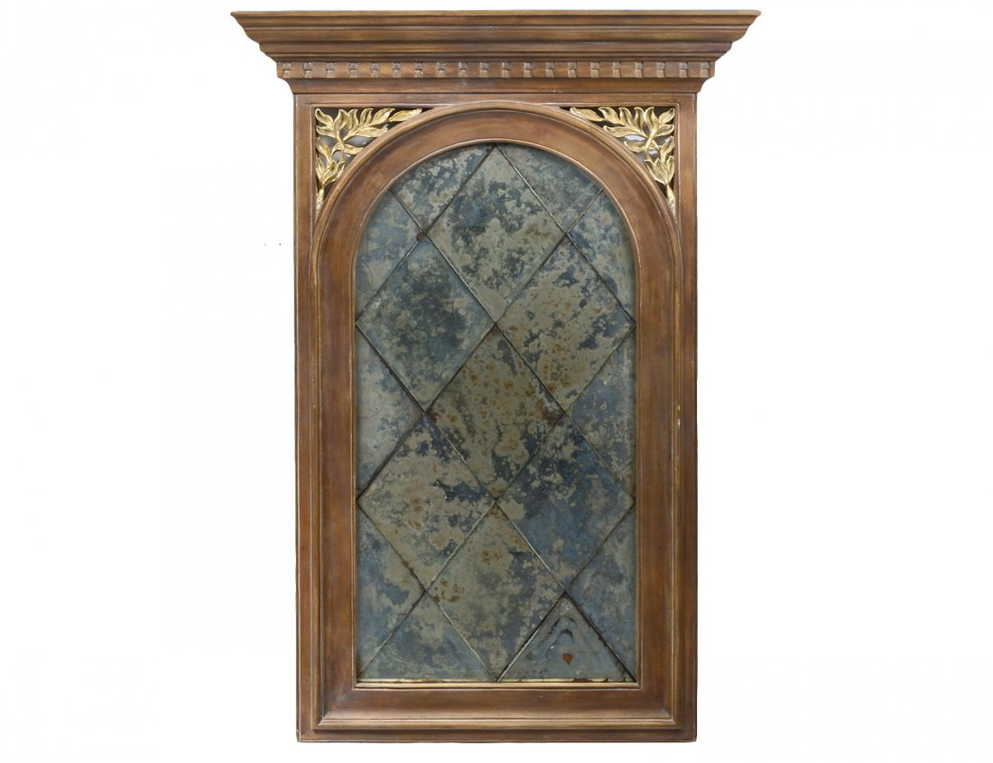 PARCEL GILT WALNUT AND SMOKED GLASS PIER MIRROR
