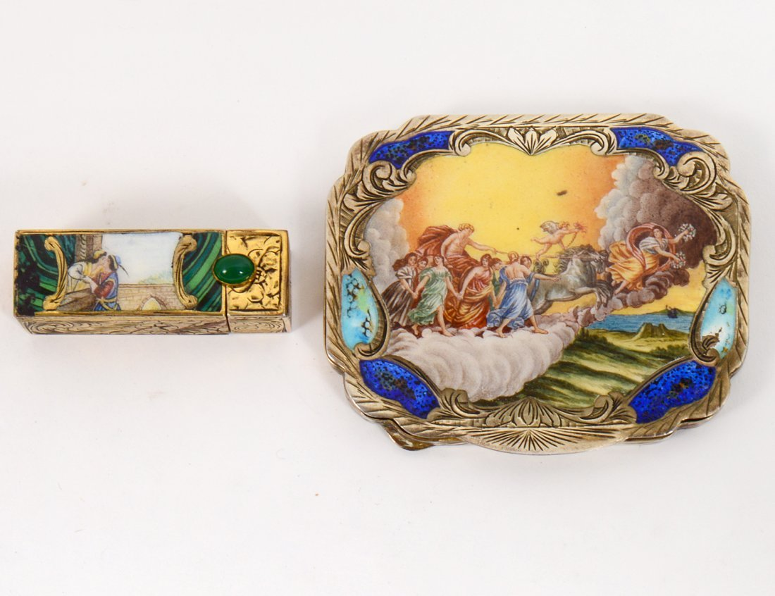 ITALIAN INCISED GILT METAL AND ENAMEL COMPACT AND