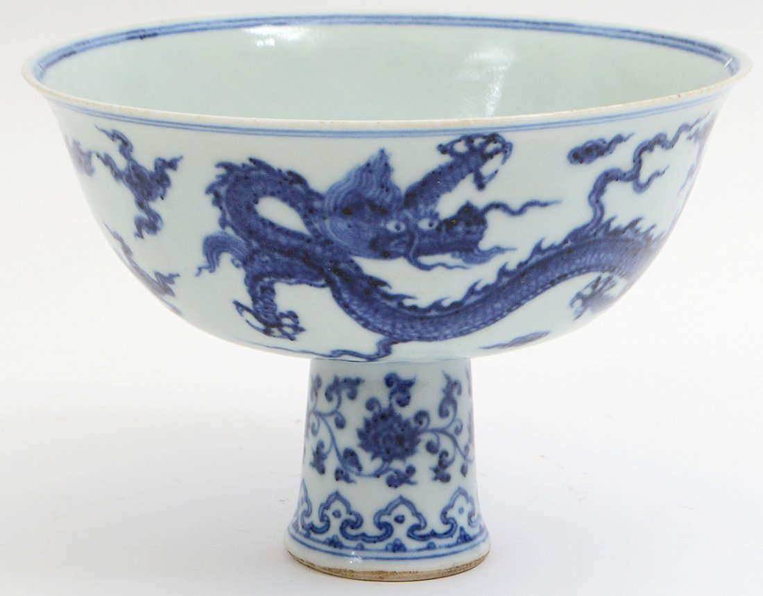 CHINESE MING STYLE BLUE AND WHITE STEM CUP - 3
