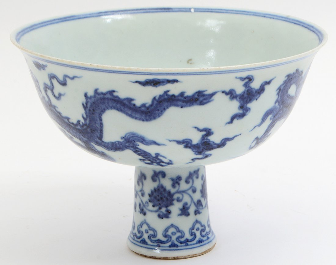 CHINESE MING STYLE BLUE AND WHITE STEM CUP - 4