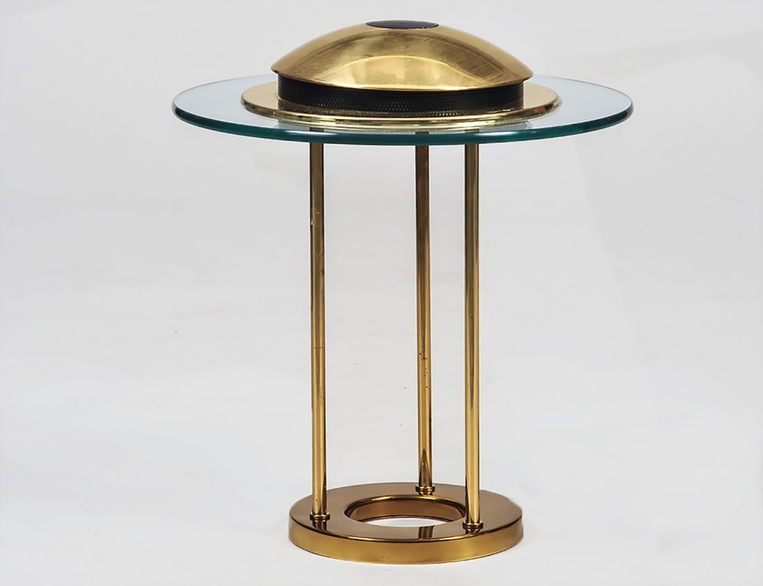 CONTEMPORARY BRASS AND GLASS TABLE LAMP