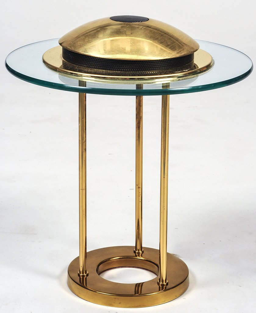 CONTEMPORARY BRASS AND GLASS TABLE LAMP - 2