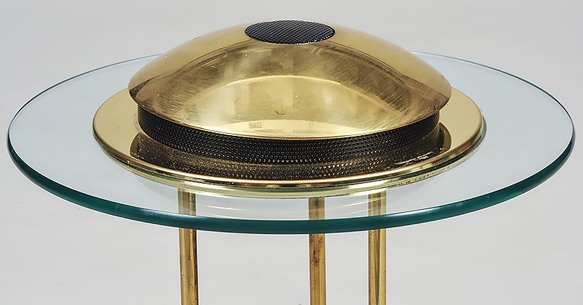 CONTEMPORARY BRASS AND GLASS TABLE LAMP - 4