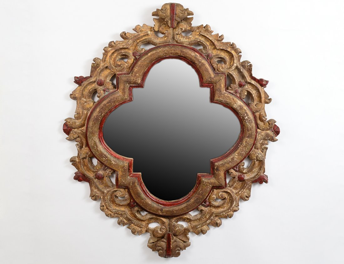 BAROQUE STYLE PAINTED AND GILT QUATREFOIL MIRROR