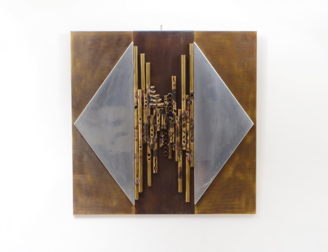 PAUL VANDERS PATINATED BRASS AND ALUMINUM WALL PLAQUE