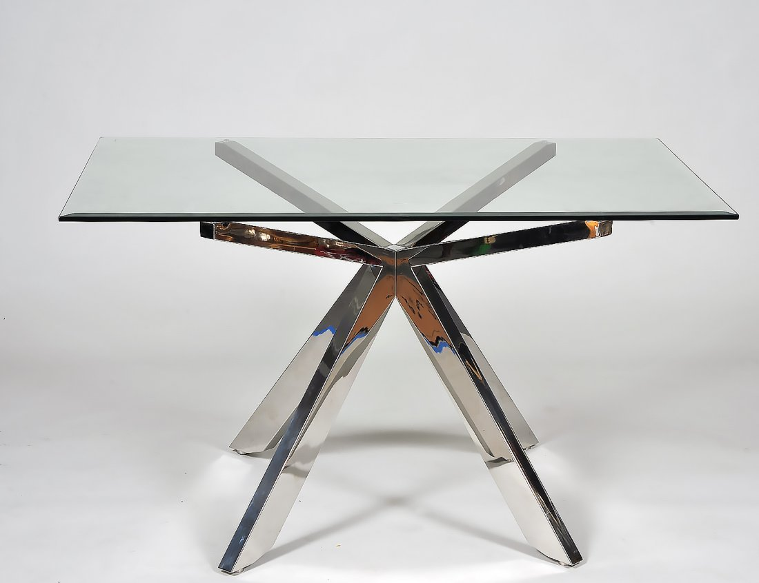 CONTEMPORARY CHROME AND GLASS TABLE
