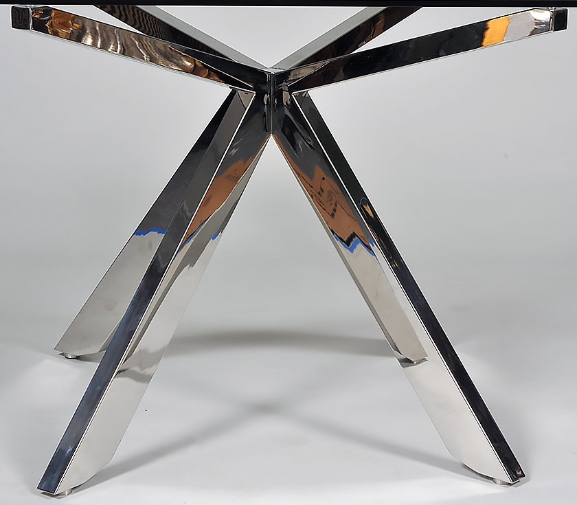 CONTEMPORARY CHROME AND GLASS TABLE - 3