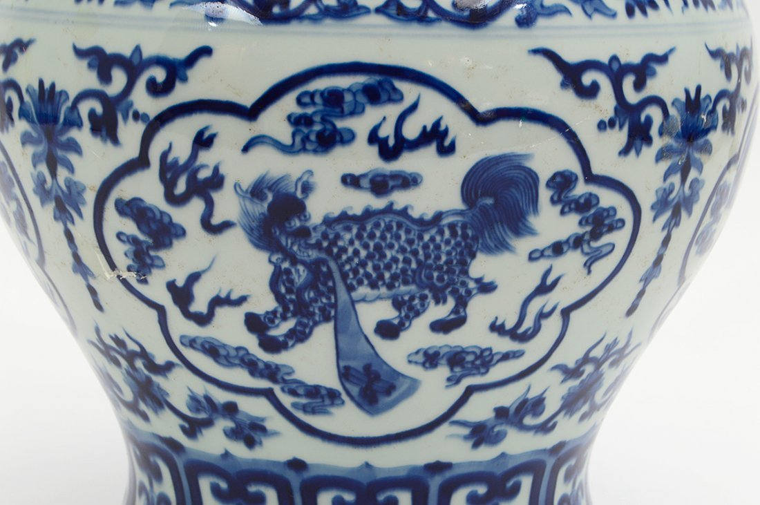 CHINESE BLUE AND WHITE COVERED GINGER JAR - 2
