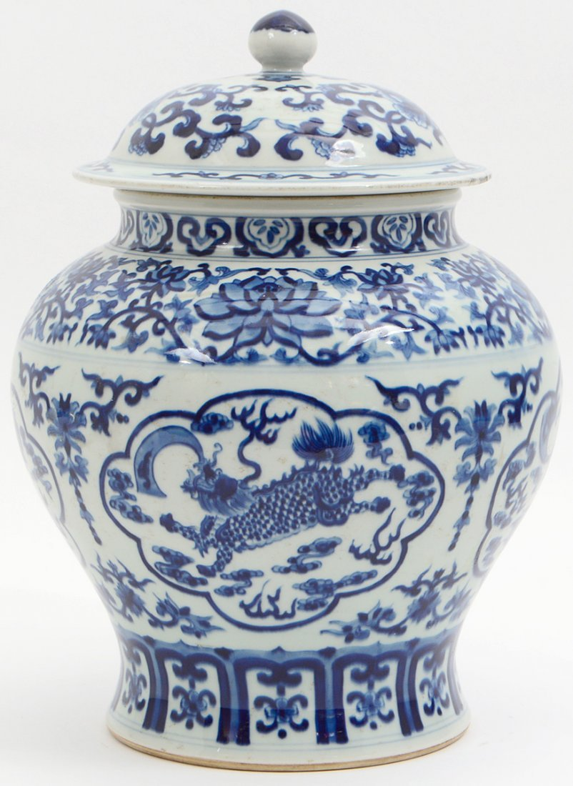 CHINESE BLUE AND WHITE COVERED GINGER JAR - 3