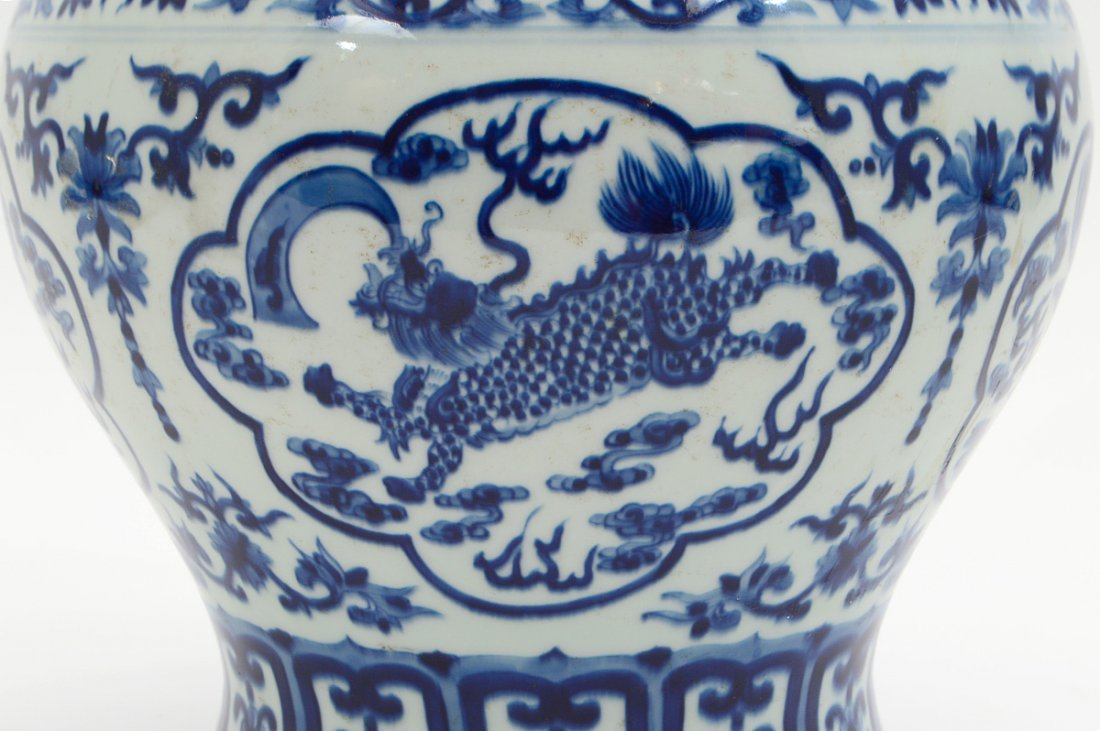 CHINESE BLUE AND WHITE COVERED GINGER JAR - 4