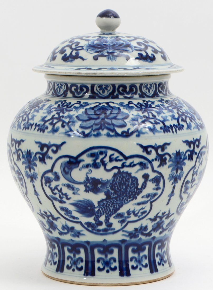 CHINESE BLUE AND WHITE COVERED GINGER JAR - 5