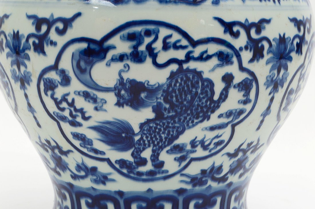 CHINESE BLUE AND WHITE COVERED GINGER JAR - 6