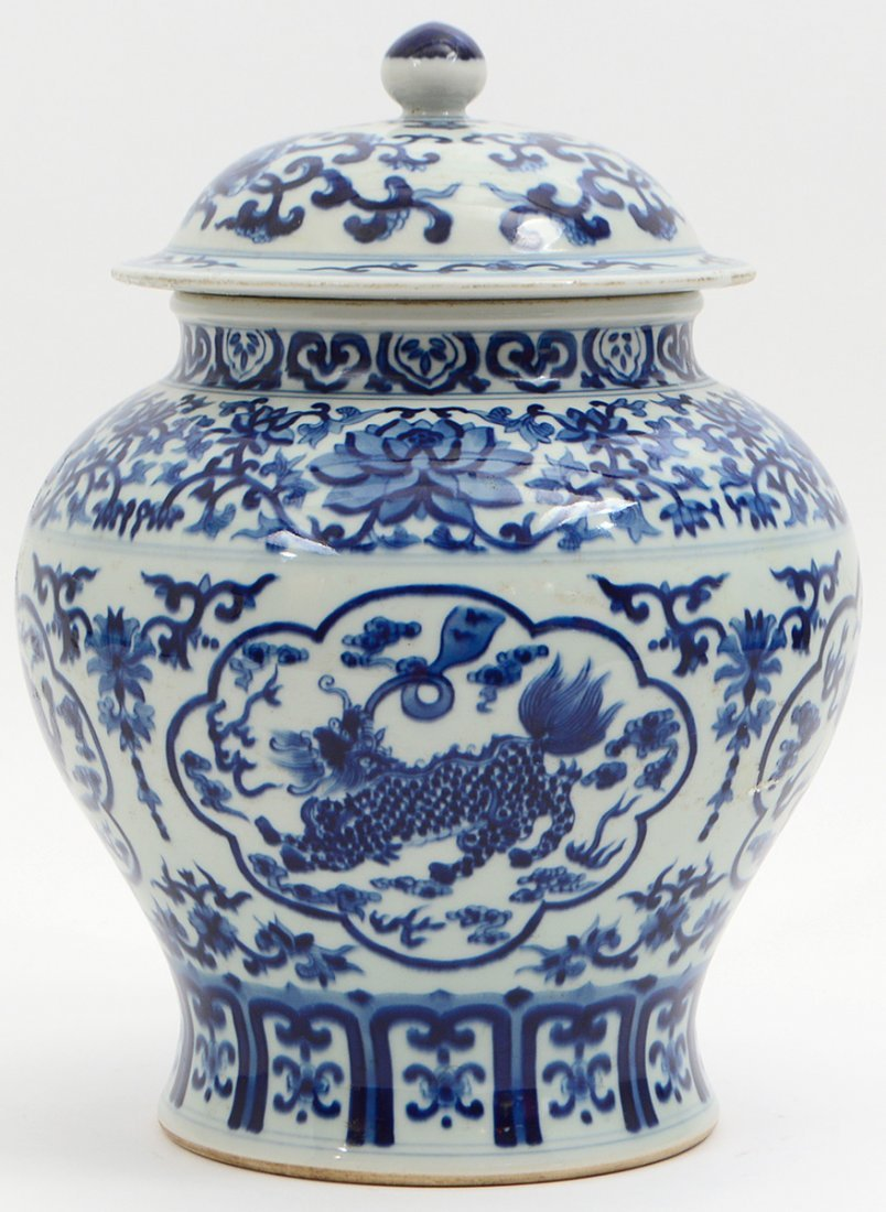 CHINESE BLUE AND WHITE COVERED GINGER JAR - 7