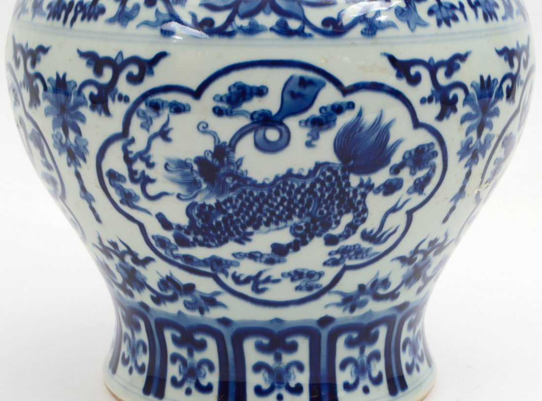 CHINESE BLUE AND WHITE COVERED GINGER JAR - 8