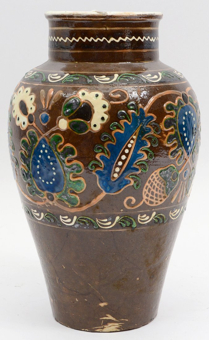 RUSSIAN PROVINCIAL PAINTED POTTERY VASE - 5