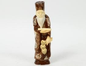 CHINESE CARVED IVORY AND WOOD SCHOLAR